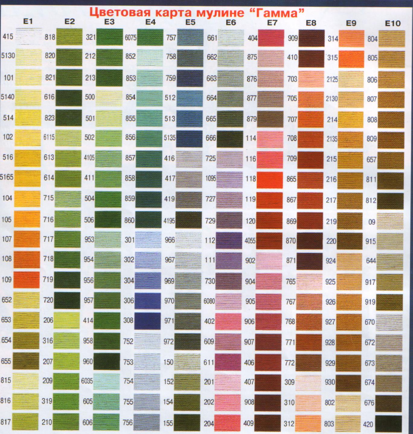 Карта цветов ниток вышивки
