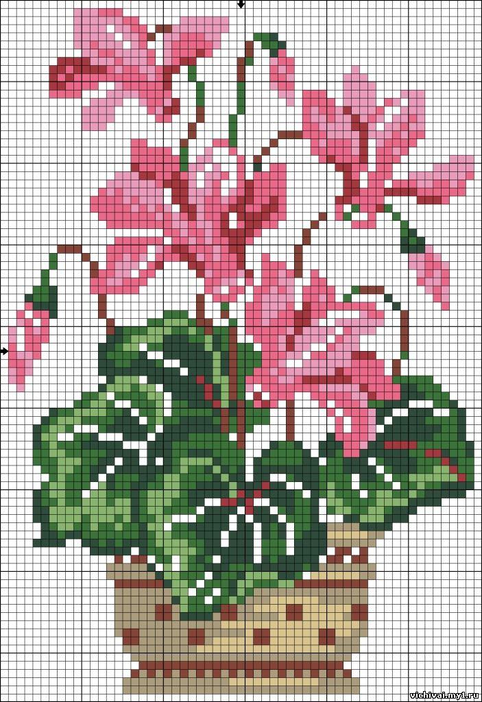 Схемы для вышивки цветы в горшках 75