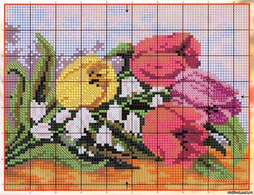 Схема для вышивки тюльпаны 2
