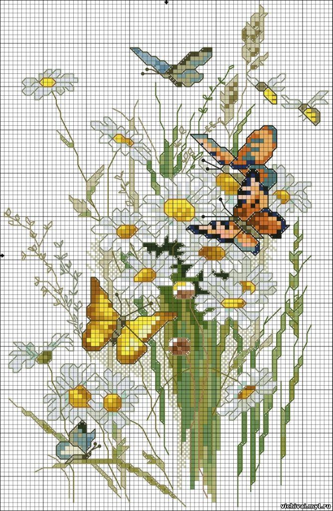 Вышивка ромашки с бабочками