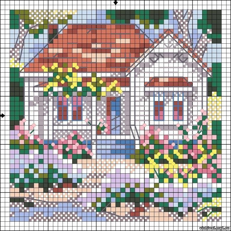 Схема для вышивки крестом с домиком 823