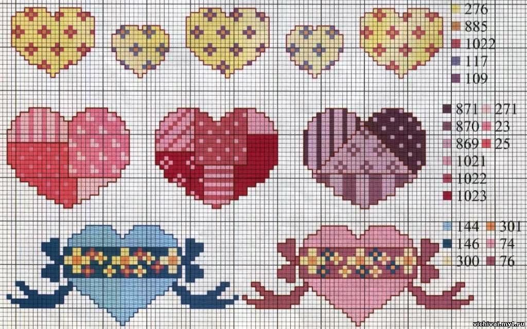 Сердце для вышивки крестиком 558