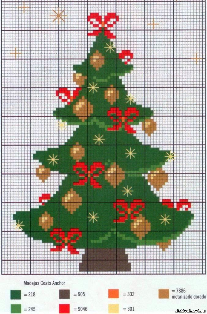 Вышивка крестиком елка схема