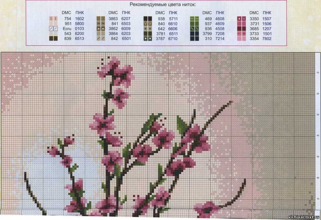 Схемы вышивки крестом ветка сакуры