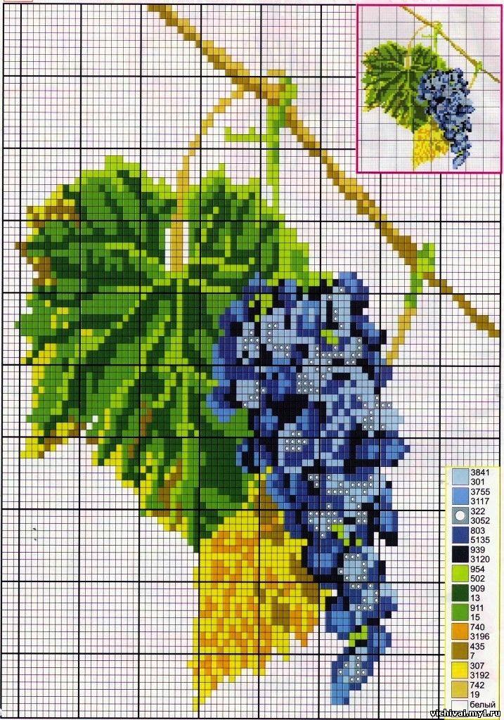 Схемы вышивки винограда крестиком 88