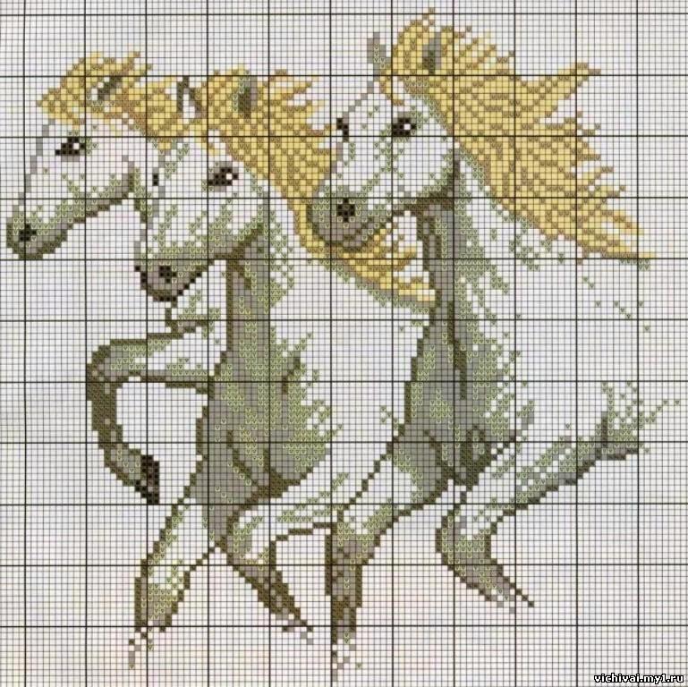 Вышивка Крестиком Тройка Лошадей