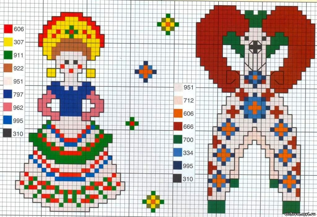 Дымковская игрушка. схемы вышивки крестом